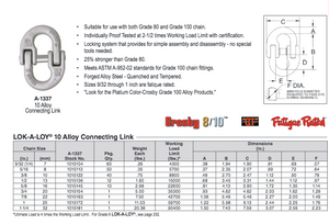 Crosby® A-1337 Grade 100 Alloy Connecting Link LOK-A-LOY® Specs