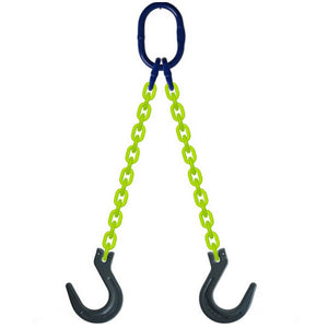 DOF Grade 100 2-Leg Chain Sling Clevis Foundry Hook Latch Hi-Viz USA