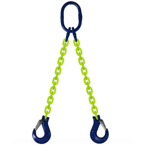 DOS Grade 100 2-Leg Alloy Chain Sling with Oblong Master Link and Clevis Sling Hooks each leg.