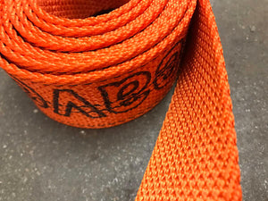 Orange diamond weave webbing