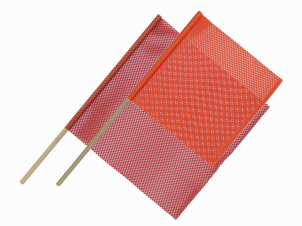 "12-Pack 24"" x 24"" Dowel Warning Flag - RED or ORANGE"