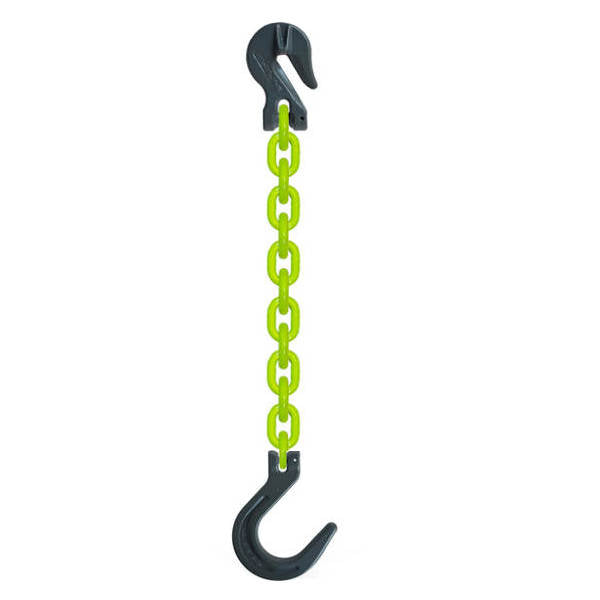 SGF Grade 100 chain Sling w/ Foundry Hook & Grab Hook High Visibility