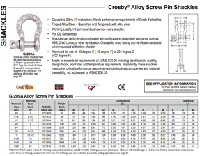 Crosby® G-209A Screw Pin Anchor Shackles Alloy