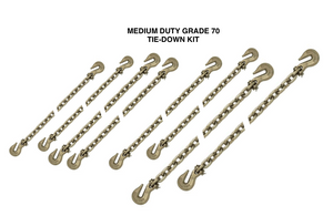 "This versatile Medium Duty Transport Binder Chain kit consists of 5/16"" & 3/8"" chains with clevis grab hooks each end."
