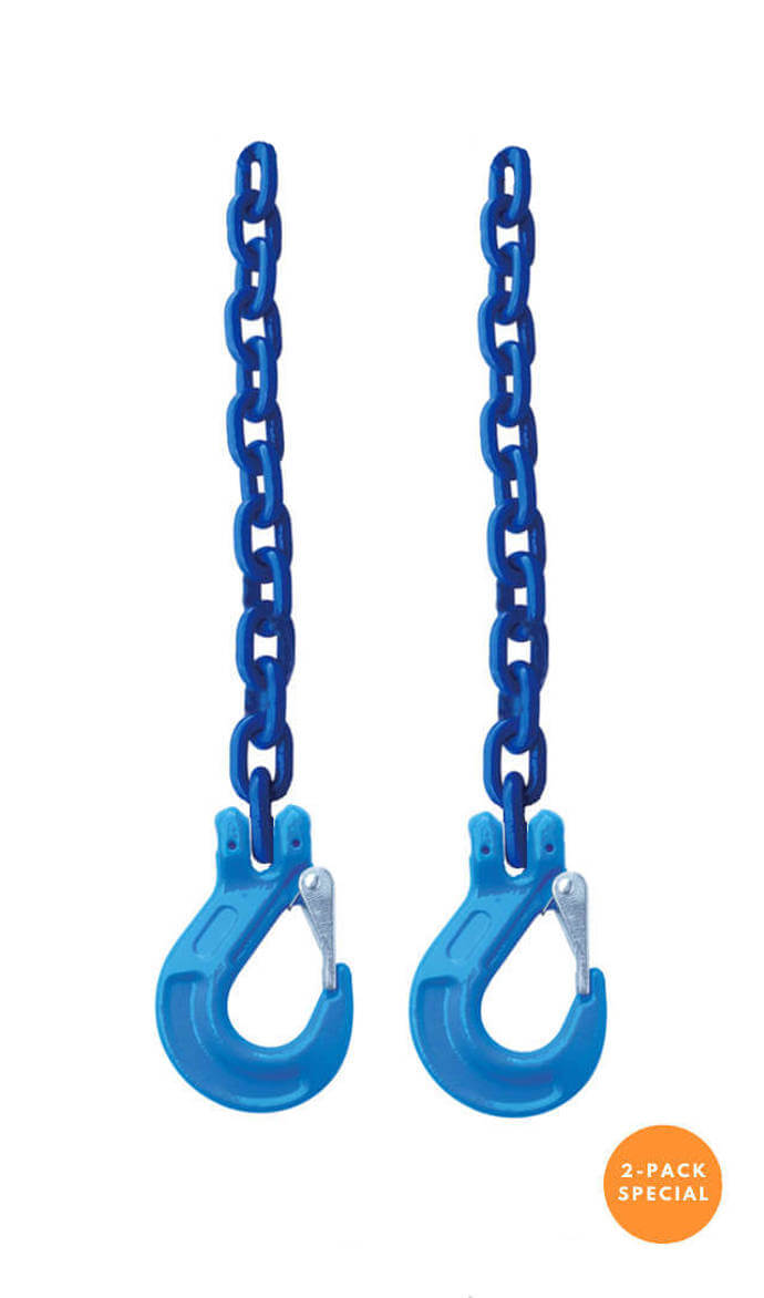"3/8"" Grade 100 Safety Chain w/ Clevis Sling Hook (2-Pack)"