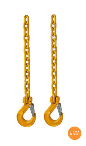 Grade 80 Safety Chain Tie Downs with a Clevis Sling Hook on one end.  Available at Baremotion