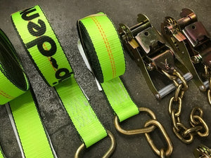8-Point Tie Down Kit - 18' HI-VIZ Green Straps