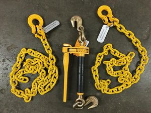 "3/8"" x 6' Grade 80 Yellow Alloy Chain Front Axle Tie Down Kit Wrecker Tow Truck"