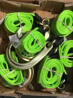 "8"" J-Hook w/ 8' Long Hi-Vis Green Straps"