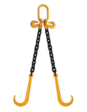 "3/8"" Grade 80 V-Bridle Chain w/J-Hook & Grab"