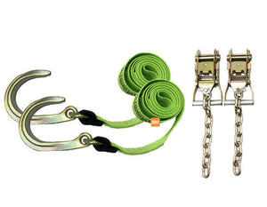 "8' Strap with a 8"" J-Hook on one end & Chain Ratchet Tie-Down Kit.  Availlable at Baremotion"
