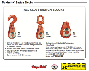 Alloy Snatch Blocks type 416 Crosby