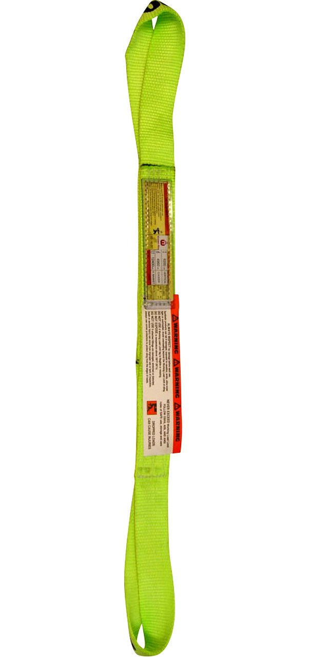 "2"" Nylon Lifting Web Sling - Twisted Eye & Eye 2-Ply (USA) 6400 lbs WLL (Hi-Viz Nylon)"
