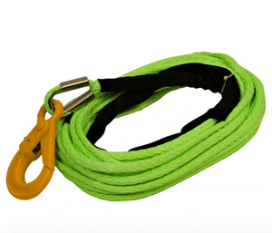 "Now in Green for higher visibility!  These 1/2"" Synthetic Winch Lines w/ Self Locking Eye Hook are made from HMPE fibers making them Stronger and lighter than steel cables!"