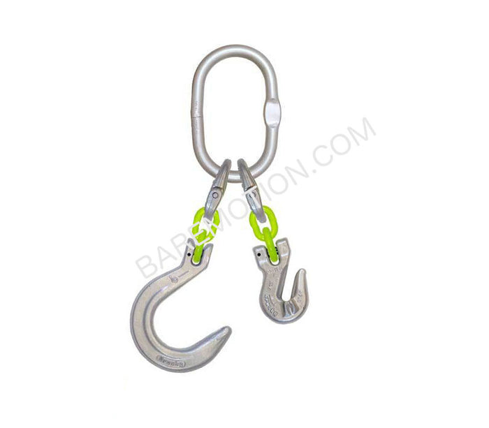 "1/2"" x 2' GR100 Chain Hi-Viz Chain Assembly with Grab Hook and Foundry Hook"