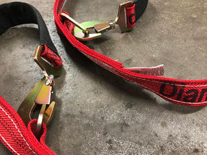 Axle V-Bridle Strap 4' RED Diamond Weave.  Towing V-bridle straps made with strong diamond weave webbing