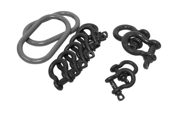 Heavy Duty Shackle Kit includes 10 drop forged anchor shackles with alloy screw pins and 2 alloy master links.