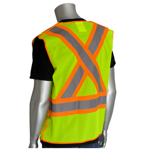 ANSI Class 2 Safety vests Hi-Viz Two-Tone X-Back Breakaway Mesh are ideal for construction, towing, municipalities, shipyards, and anywhere hi-visibility apparel is needed.