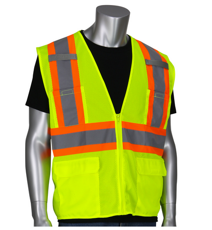 Safety Vest Hi-Viz Basic Mesh Lime Yellow ANSI Class 2 PIP®
