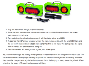 Lite-it-Wireless LED Agricultural Tow Lights - Operating Instructions