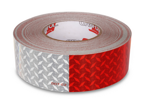 "2"" x 150' Roll - Red/White Diamond Plate Reflective Conspicuity Tape - Made in USA."