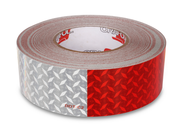 "2"" x 150' Red/White Diamond Plate Reflective Conspicuity Tape"
