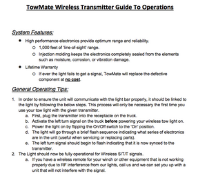 TowMate Wireless Transmitter Guide To Operations