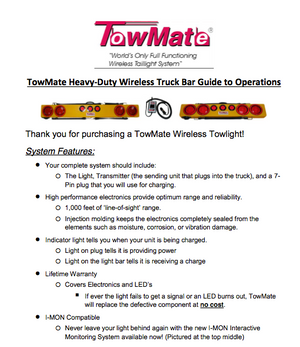 Towmate Heavy Duty Wireless Tow Light - Operations Guide
