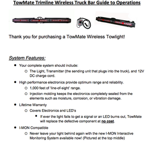 Towmate Wireless Trimline Series Tow Light Bar Operating instructions