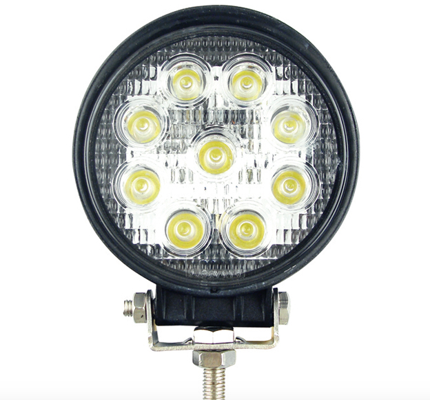 27-watt LED Round work light from Custer Products has a stainless steel mounting and aluminum housing