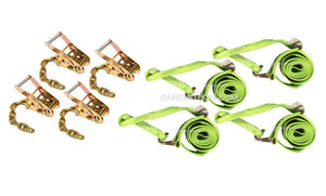 Tie Down Kit Four Points Wheel Loop Straps & Chain Ratchets.  Towing straps for rollback tow truck car carriers