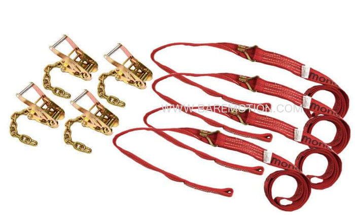 Four Point Tie Down Kit Wheel Loop Straps & Chain Ratchets RED