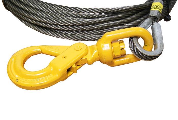 "3/8"" x 150' Super Swaged Winch Cable Swivel Self Locking Hook All-Grip®"