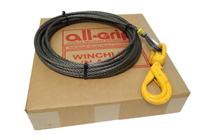 "3/8"" Fiber Core Winch Cable with Swivel Self Locking Hook All-Grip®"