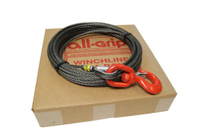 "3/8"" Fiber Core Winch Cables with Swivel Hook and Latch from All-Grip."