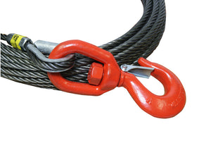 "5/8"" Fiber Core Winch Cables with Swivel Hook and Latch from All-Grip.  Also known as wire rope and winch lines."