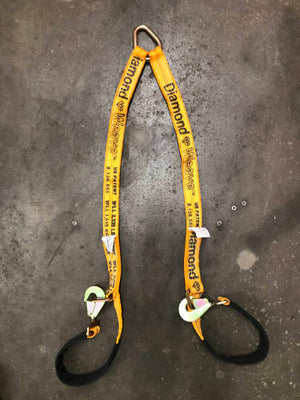 Axle V-Bridle Strap 4' Yellow Diamond Weave