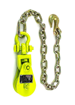 2 Ton Snatch Block with Chain Anchor Hi-Viz Yellow All-Grip®
