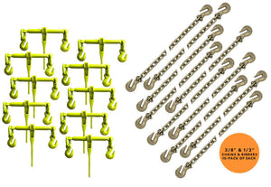 "Heavy Duty Grade 70 Binder chain package consisting of 3/8"" & 1/2"" chains and Hi-vis ratchet loadbinders."
