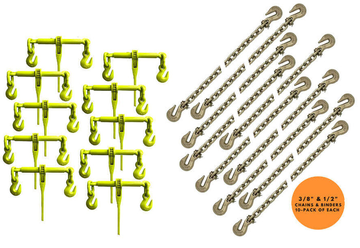 Grade 70 Binder Chain & Hi-Viz Ratchet Binder Heavy Duty Package