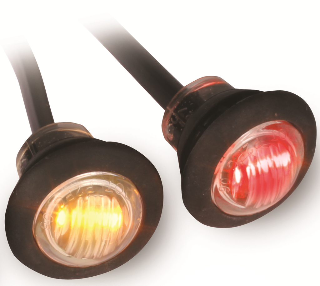 "10-PACK 3/4"" LED Marker Lights with Clear Lens.  Available in Amber and Red."