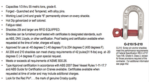 Crosby® G-210 Screw Pin Chain Shackles