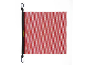 18'' x 18'' EZ Hook Mesh Warning Flag Bungee RED