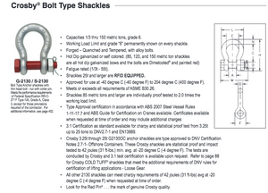 Crosby® G-2130 Bolt Type Anchor Shackles