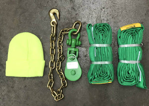 Snatch Block Chain & Polyester Green Round Sling Kit. Available at Baremotion
