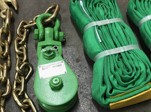 Green Snatch Block Chain & Green round Slings
