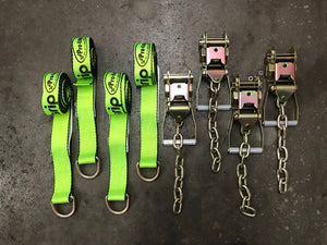 8' Hi-Viz Lasso Wheel Lift Straps & Chain Ratchets Tie Down Kit Tow Truck