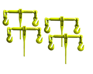 "Hi-Viz Green 3/8""-1/2"" Ratchet Chain Load Binders.  Be more visible on the road with these high visibility green chain binders!"