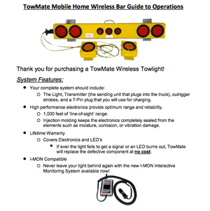 Wireless Mobile Home Tow Bar manual