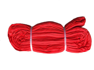Red Polyester Rounds Slings, also known as Endless Round Slings, are lifting slings made out of polyester fibers encased in a double thick color coded woven tube of polyester web.